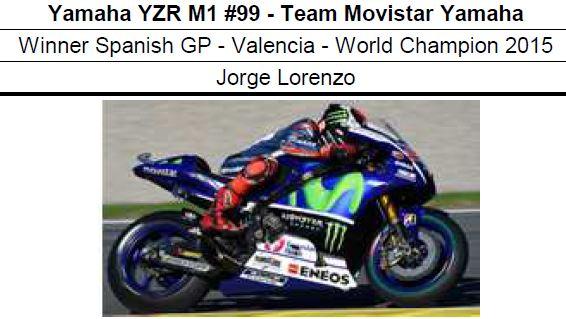 ◎予約品◎ 1/12 Yamaha YZR M1 #99 - Team Movistar Yamaha Winner Spanish GP -  Valencia - World Champion 2015  Jorge Lorenzo