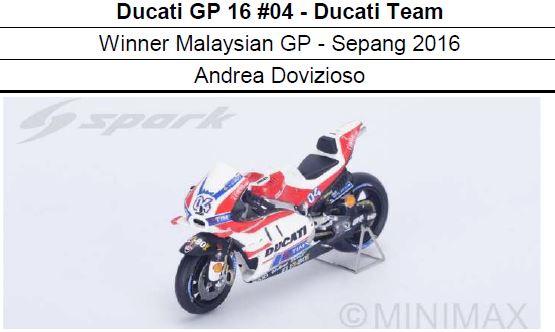 ◎予約品◎ 1/12 Ducati GP 16 #04 - Ducati Team Winner Malaysian GP - Sepang 2016 Andrea Dovizioso