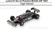 ◎予約品◎ Lotus 87 No.12 Practice British GP 1981  Nigel Mansell