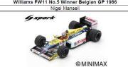 ◎予約品◎ Williams FW11 No.5 Winner Belgian GP 1986 Nigel Mansell