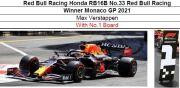 ◎予約品◎ Red Bull Racing Honda RB16B No.33 Red Bull Racing Winner Monaco GP 2021 M.フェルスタッフェン  With No.1 Board