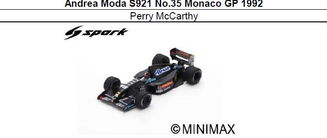 ◎予約品◎ Andrea Moda S921 No.35 Monaco GP 1992 Perry McCarthy
