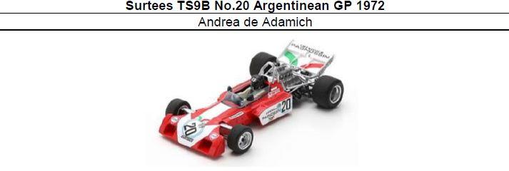 ◎予約品◎ Surtees TS9B No.20 Argentinean GP 1972 Andrea de Adamich