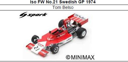 ◎予約品◎ Iso FW No.21 Swedish GP 1974Tom Belso
