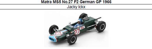 ◎予約品◎ Matra MS5 No.27 F2 German GP 1966 Jacky Ickx