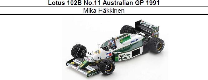 ◆Lotus 102B No.11 Australian GP 1991 M.ハッキネン