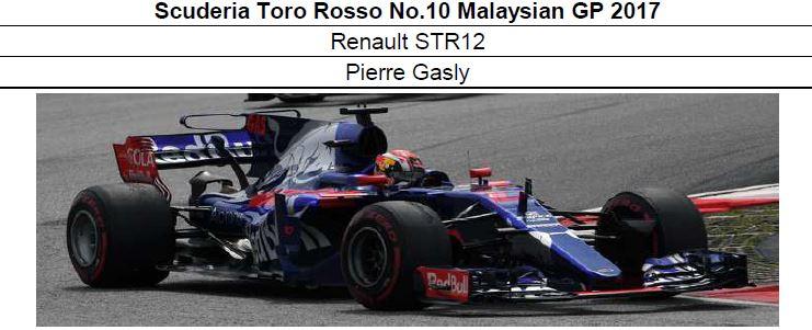 ◆Scuderia Toro Rosso Renault STR12 No.10 Malaysian GP 2017   Pierre Gasly