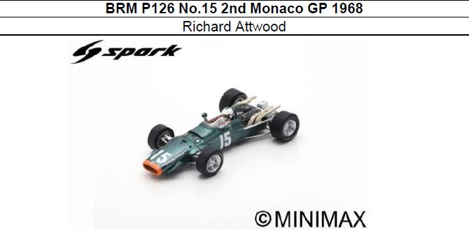 ◎予約品◎ BRM P126 No.15 2nd Monaco GP 1968 Richard Attwood