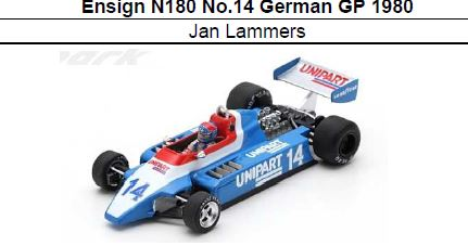 ◎予約品◎ Ensign N180 No.14 German GP 1980  Jan Lammers