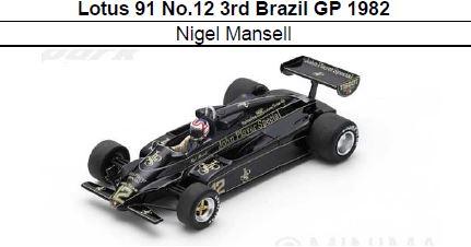 ◎予約品◎ Lotus 91 No.12 3rd Brazil GP 1982  Nigel Mansell