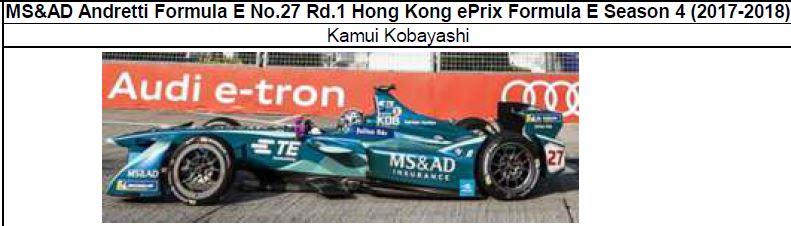 ◎予約品◎ MS&AD Andretti Formula E No.27 Rd.1 Hong Kong ePrix Formula E Season 4 (2017-2018) 小林 可夢偉