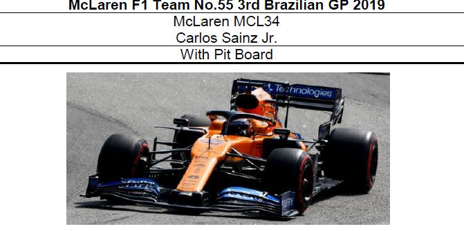 ◎予約品◎ McLaren F1 Team MCL34 No.55 3rd Brazilian GP 2019 C.サインツ Jr.    With Pit Board