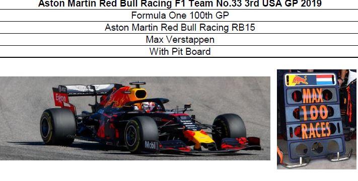 ◎予約品◎ Aston Martin Red Bull Racing F1 Team No.33 3rd USA GP 2019 F1 100th GP  RB15 M.フェルスタッフェン With Pit Board