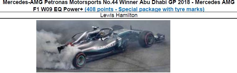 ◎予約品◎ Mercedes-AMG Petronas Motorsports No.44 Winner Abu Dhabi GP 2018  W09 EQ Power+ (408 points - Special package with tyre marks)  L.ハミルトン