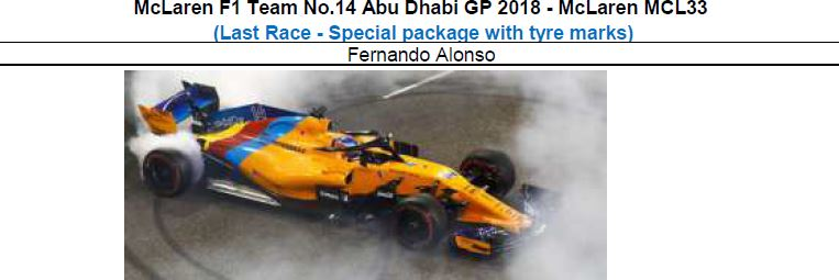 ◆McLaren F1 Team No.14 Abu Dhabi GP 2018  MCL33 (Last Race - Special package with tyre marks)  F.アロンソ