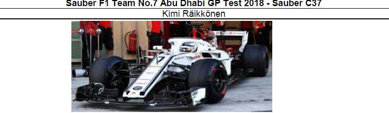 ◎予約品◎ Sauber F1 Team No.7 Abu Dhabi GP Test 2018  C37 K.ライコネン