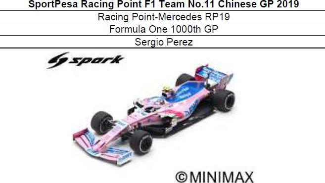 ◎予約品◎1/18 SportPesa Racing Point F1 Team No.11 Chinese GP 2019  RP19 Formula One 1000th GP  S.ペレス