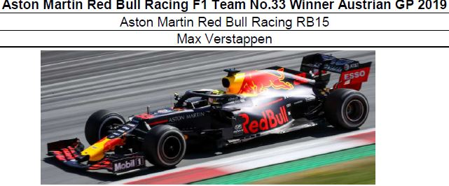 ◆Aston Martin Red Bull Racing F1 Team No.33 Winner Austrian GP 2019 RB15 M.フェルスタッペン
