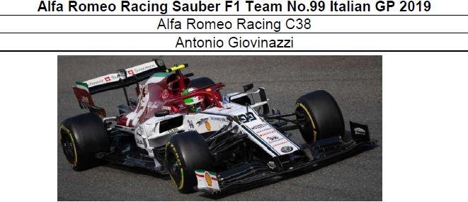 ◎予約品◎Alfa Romeo Racing Sauber F1 Team No.99 Italian GP 2019   C38 A.ジョビナッツィ