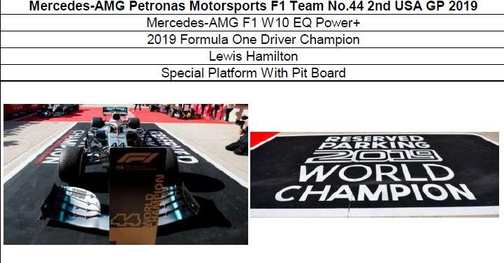 ◎予約品◎ Mercedes-AMG Petronas  F1 Team No.44 2nd USA GP 2019 W10 EQ Power+ 2019 F1 Champion L.ハミルトン Special Platform With Pit Board