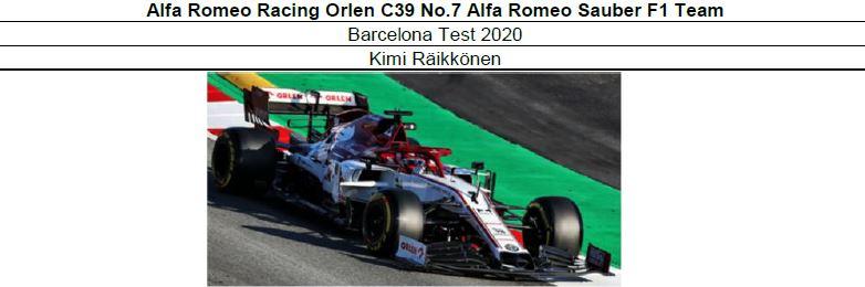 ◎予約品◎ Alfa Romeo Racing Orlen C39 No.7   Barcelona Test 2020   K.ライコネン