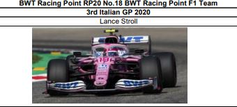 ◎予約品◎ BWT Racing Point RP20 No.18  3rd Italian GP 2020  Lance Stroll