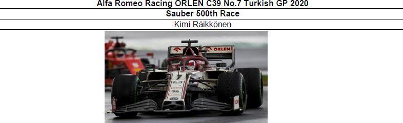 ◎予約品◎ Alfa Romeo Racing ORLEN C39 No.7 Turkish GP 2020Sauber 500th Race   K.ライコネン