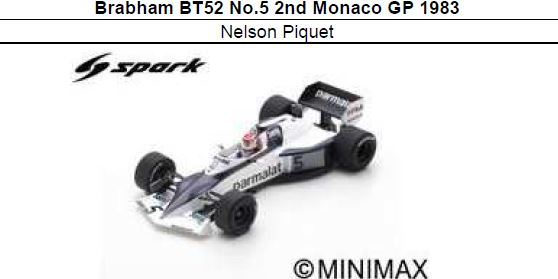 ◎予約品◎ Brabham BT52 No.5 2nd Monaco GP 1983 Nelson Piquet