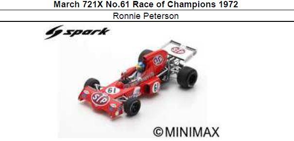 ◎予約品◎ March 721X No.61 Race of Champions 1972 Ronnie Peterson