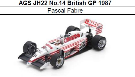 ◎予約品◎ AGS JH22 No.14 British GP 1987 Pascal Fabre