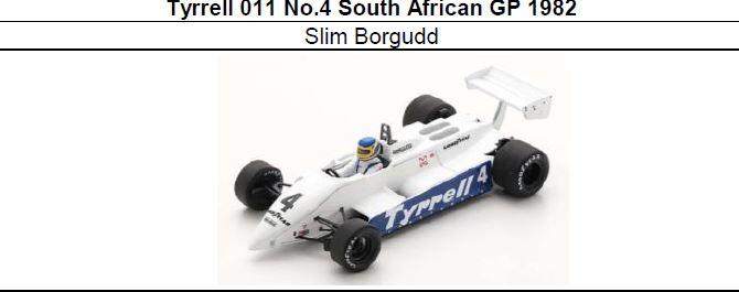 ◎予約品◎ Tyrrell 011 No.4 South African GP 1982 Slim Borgudd