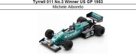 ◎予約品◎ Tyrrell 011 No.3 Winner US GP 1983 Michele Alboreto
