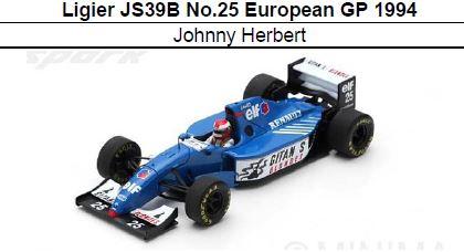 ◎予約品◎ Ligier JS39B No.25 European GP 1994  Johnny Herbert