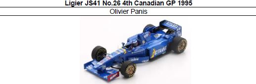 ◎予約品◎ Ligier JS41 No.26 4th Canadian GP 1995 Olivier Panis