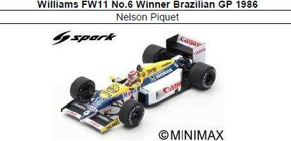 ◎予約品◎ Williams FW11 No.6 Winner Brazilian GP 1986  Nelson Piquet