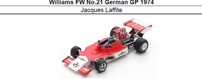 ◎予約品◎ Williams FW No.21 German GP 1974 Jacques Laffite