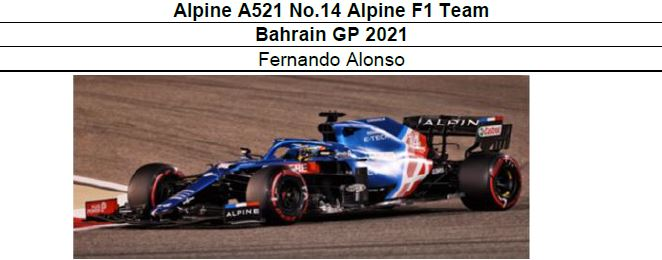 ◆Alpine A521 No.14 Alpine F1 Team Bahrain GP 2021   F.アロンソ
