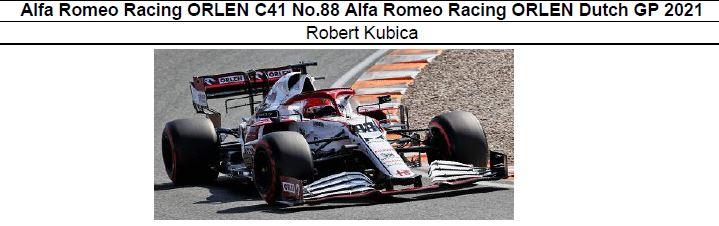 ◎予約品◎ Alfa Romeo Racing ORLEN C41 No.88 Alfa Romeo Racing ORLEN Dutch GP 2021 Robert Kubica