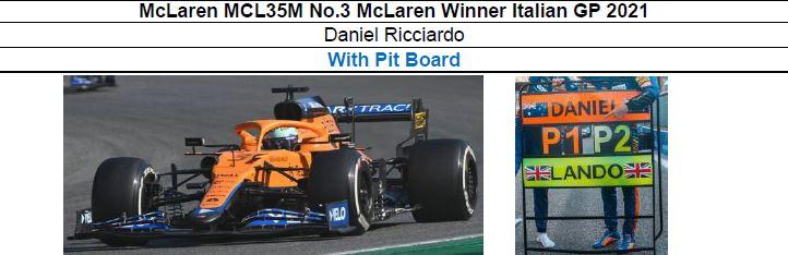 ◎予約品◎ McLaren MCL35M No.3 McLaren Winner Italian GP 2021 Daniel Ricciardo   With Pit Board