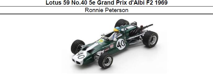 ◎予約品◎ Lotus 59 No.40 5e Grand Prix d Albi F2 1969 Ronnie Peterson