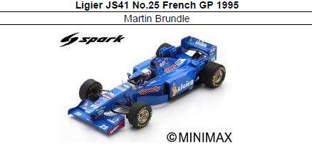 ◎予約品◎ Ligier JS41 No.25 French GP 1995  Martin Brundle