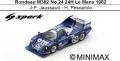 ◎予約品◎ Rondeau M382 No.24 24H Le Mans 1982 J-P. Jaussaud - H. Pescarolo