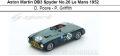 ◎予約品◎Aston Martin DB3 Spyder No.26 Le Mans 1952  D. Poore - P. Griffith