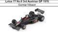 ◎予約品◎ Lotus 77 No.6 3rd Austrian GP 1976 Gunnar Nilsson