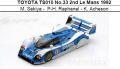 ◎予約品◎ TOYOTA TS010 No.33 2nd Le Mans 1992  M. Sekiya -  P-H. Raphanel - K. Acheson