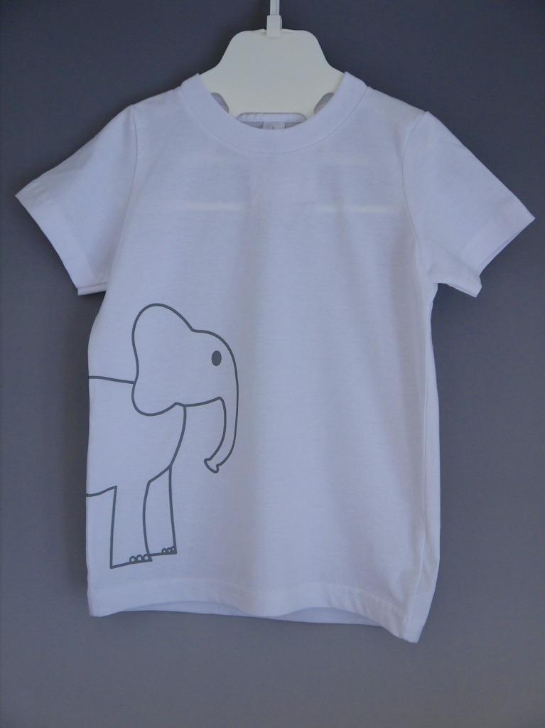 <コットン100%>Tシャツ(ホワイトelephant)/マニー&サイモン