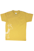 <オーガニックコットン100%>Tシャツ(マスタードgiraffe)/マニー&サイモン