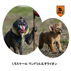 【MR.Z】MRZ035 ratio Mandrillus Sphinx & Lion Cub set 1/6スケール マンドリル&子ライオン