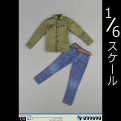 【ZYTOYS】ZY5001 Men's Military Green + Jeans Clothes Set 1/6スケール シャツ&ジーンズ