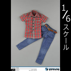【ZYTOYS】ZY5002 Men's Red and White Lattice Short Sleeve + Cowboy Suit 1/6スケール シャツ&ジーンズ